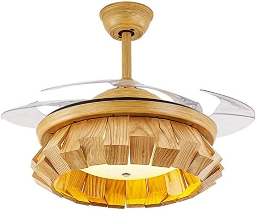 ZXT Ventilador de techo de madera maciza Luz Empalme de madera ...