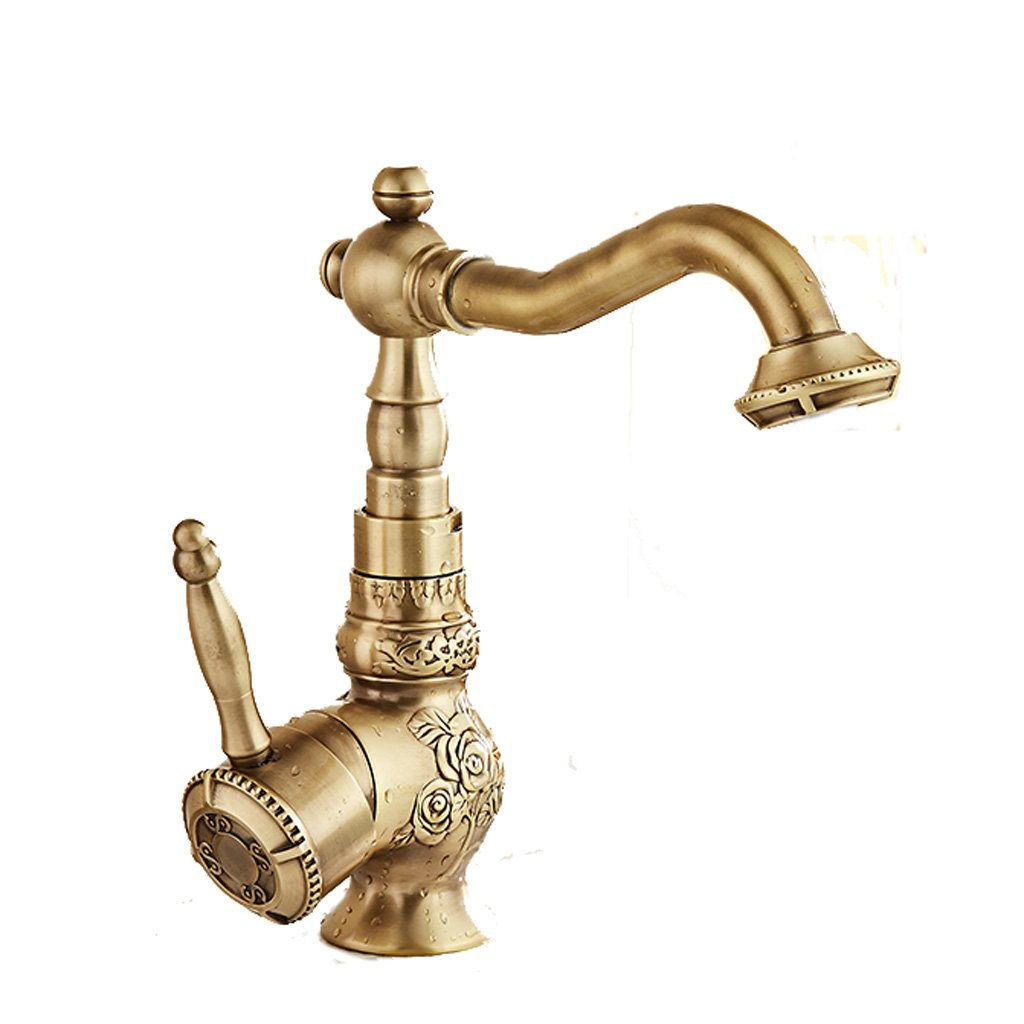 Carved Faucet Copper Single Hole Hot And Cold redating Bathroom Wash Basin Mixing Valve Antique European Aperture Is 35MM To 40MM Can Be Installed Liuyu.
