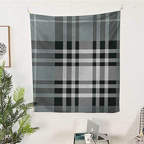 WilliamsDecor Checkered Big Tapestry Old Fashioned Plaid Tartan in Dark Colors Classic English Tile Symmetrical Pattern Tapestry 60W x 80L INCHGrey Black White (Pattern Color Split Plaid)