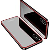 iPhone X Case, MOBYFL Slim Fit Tempered Glass Case with Shockproof Metal Bumper, Anti-Scratch Hard Cover Case for Apple iPhone X/iPhone 10, Red