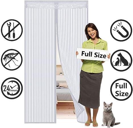 SODKK Rideau magn/étique pour Portes 27x70inch Rideau Porte Anti Insectes Blanc 70x180cm Fermeture Automatique Convient /à la Taille Facile pour Enfants et Animaux