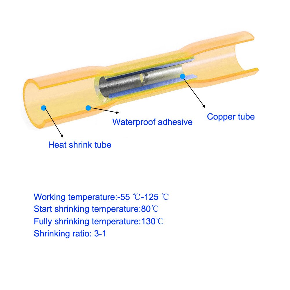 Impermeable del Alambre con el Caso Pr/áctico Terminales Aislados para. Seal Calor Shrink terminales el/éctricos KINYOOO 40 Pcs 16-14 AWG del calor a tope conectores de cable el/éctrico Kit