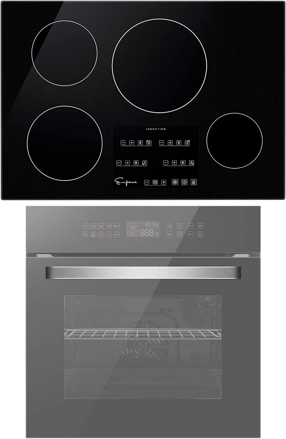 Empava 24 Inch Single Wall Oven and 30 Inch Electric Stove Induction Cooktop with 4 Power Boost Burners Smooth Surface Vitro Ceramic Glass