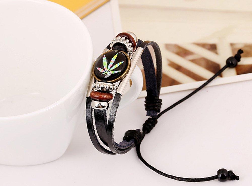 D.B.MOOD Adjustable Genuine Leather Bracelet - Marijuana Weed Leaf Black by D.B.MOOD (Image #3)