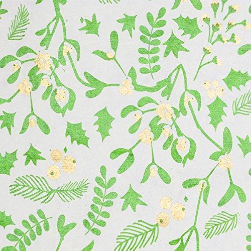 Holiday Gift Wrap - Mistletoe - Cream/Metallic Olive Green/Gold