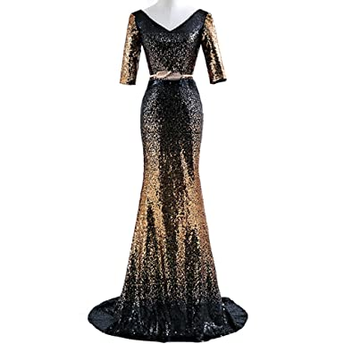 Heartgown Womens Sexy Long Mermaid Prom Dresses Gradient Sequin Evening Party Dress - Multi - 10