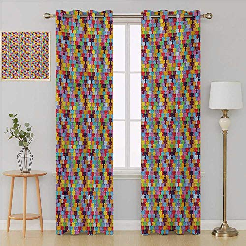 Colorful Grommet Curtain Window Treatments Draperies for Bedroom,Gummy Bears Tile Candies in Different Vibrant Colors Sweet Kids Jelly Tasty Snack Kids Curtain 84 by 108 Inch Multicolor