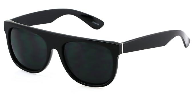 bfd16bcc1b2ea Amazon.com  Elite SUPER Dark Lens Flat Top Square Vintage Retro Fashion  Sunglasses for Men Women Aviator Sun glasses (Black