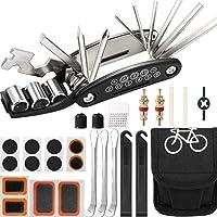 Mimoke Fietsreparatieset, 16-in-1, multifunctioneel gereedschap voor fiets, met patches en bandenlichter…