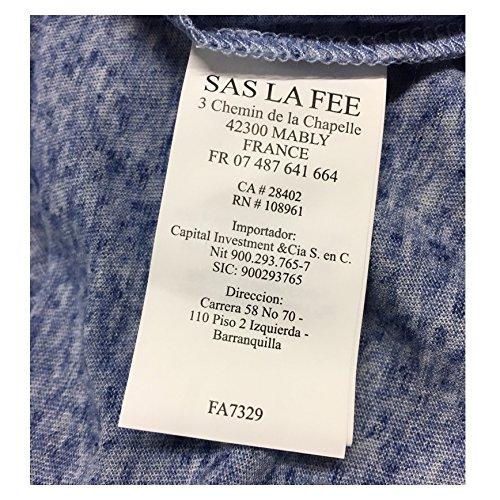 LA FEE MARABOUTEE t-shirt donna blu mélange 80% poliestere 20% lino mod 7329