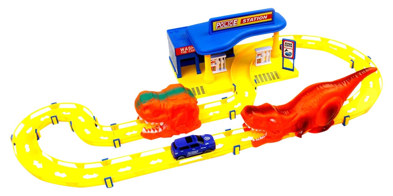 Little Treasures Police station exciting race track train on the police tracks to become a pro driver with the sleek police vehicle exciting gift for kids