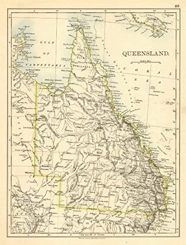 Amazon Com Queensland State Map Brisbane Gold Coast Railways