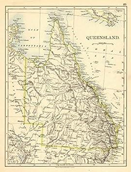 QUEENSLAND JOHNSTON 1900 Australia State map Brisbane Gold Coast Railways
