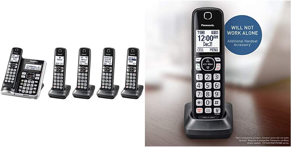 PANASONIC Link2Cell Bluetooth Cordless Phone System with Voice Assistant - 5 Handsets - KX-TGF575S (Silver) & Cordless Phone Handset Accessory (Black)