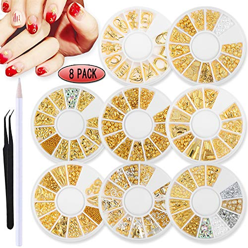 SILPECWEE 8 Boxes 3D Gold Hollow Metal Nail Studs Ocean Nail Charms Nail Rhinestones Nail Art Rivet Nail Jewelry Kit With 1Pc Tweezers And Picker Pencil (Gold Nail Charms)