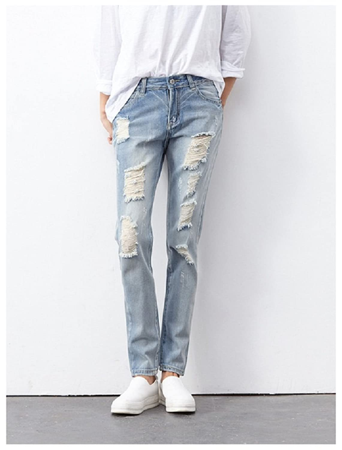 Hanxue Women's Distressed Trousers Slim Fit Jeans Pants