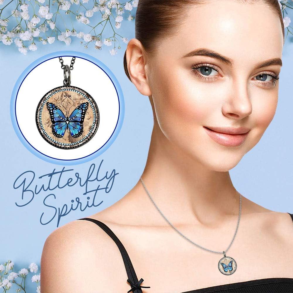 Verdigris Butterfly Pendant Bead Necklace ~ Stone Necklace ~ Green and Blue Necklace ~ Flower Necklace ~ Best Friend Gift ~ WestportCharm