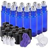 Essential Oil Roller Bottles, 12 packs 10 ml Glass Roll-on Bottles with Stainless Steel Roller Balls (pink)