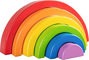 MerryHeart Wooden Rainbow Stacking Toy, 6 Piece Small Rainbow Stacker for Baby/Toddlers/Kids, Wooden Rainbow Stacking Blocks, Montessori Education Rainbow Decor, Kindergarten Teaching Aid