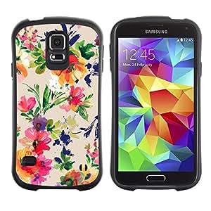 """Hypernova Slim Fit Dual Barniz Protector Caso Case Funda Para Samsung Galaxy S5 [Ramo de la flor del patrón Wallpaper""""]"""
