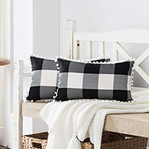 Nestinco Set of 2 Farmhouse Buffalo Check Cotton Linen Pillow Covers with Pom Pom Black and White Rectangular Lumbar Throw Pillow Covers 12 x 20 inches for Sofa Couch Decor