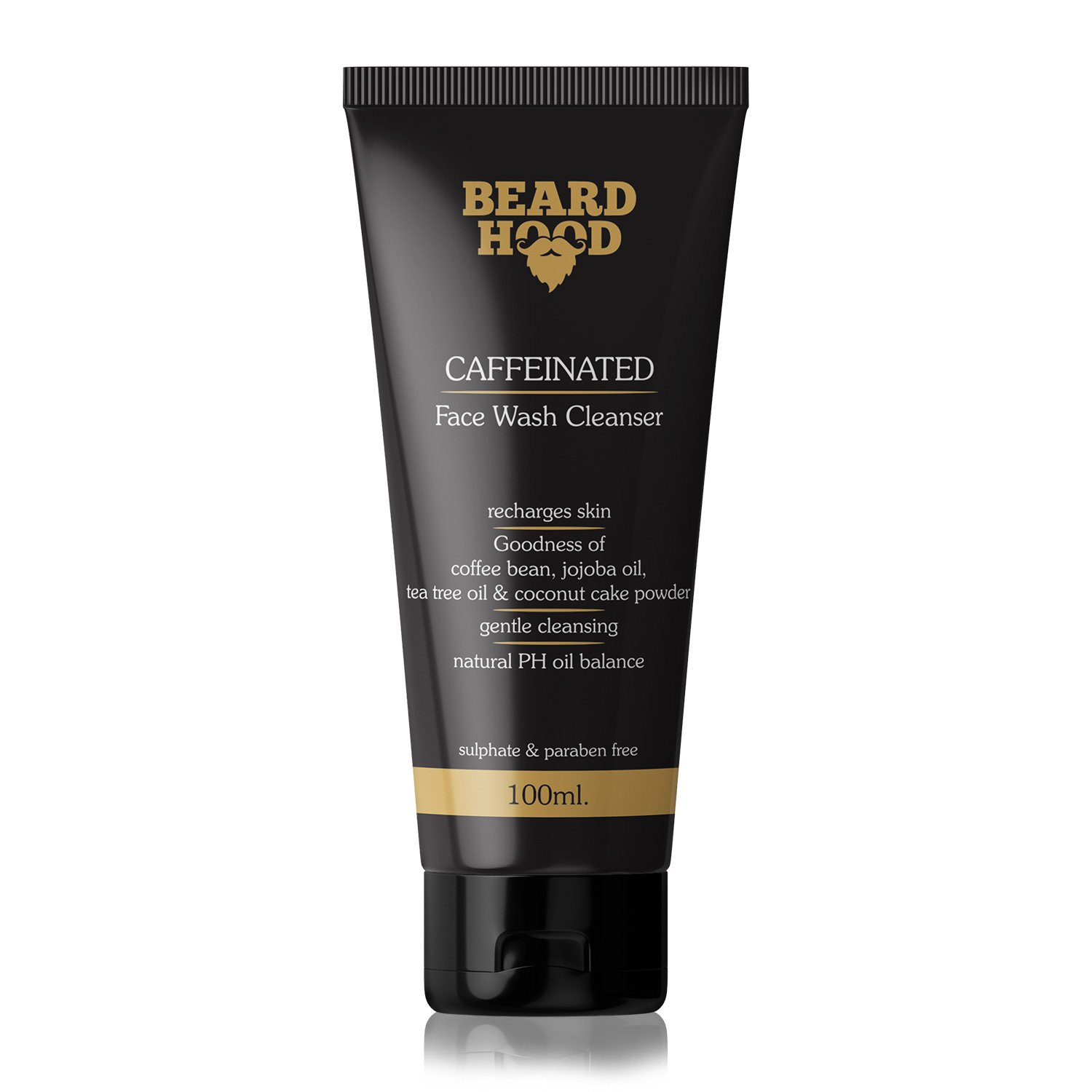 Beardhood Caffeine Face Wash Cleanser for Men, Brown, 100ml product image