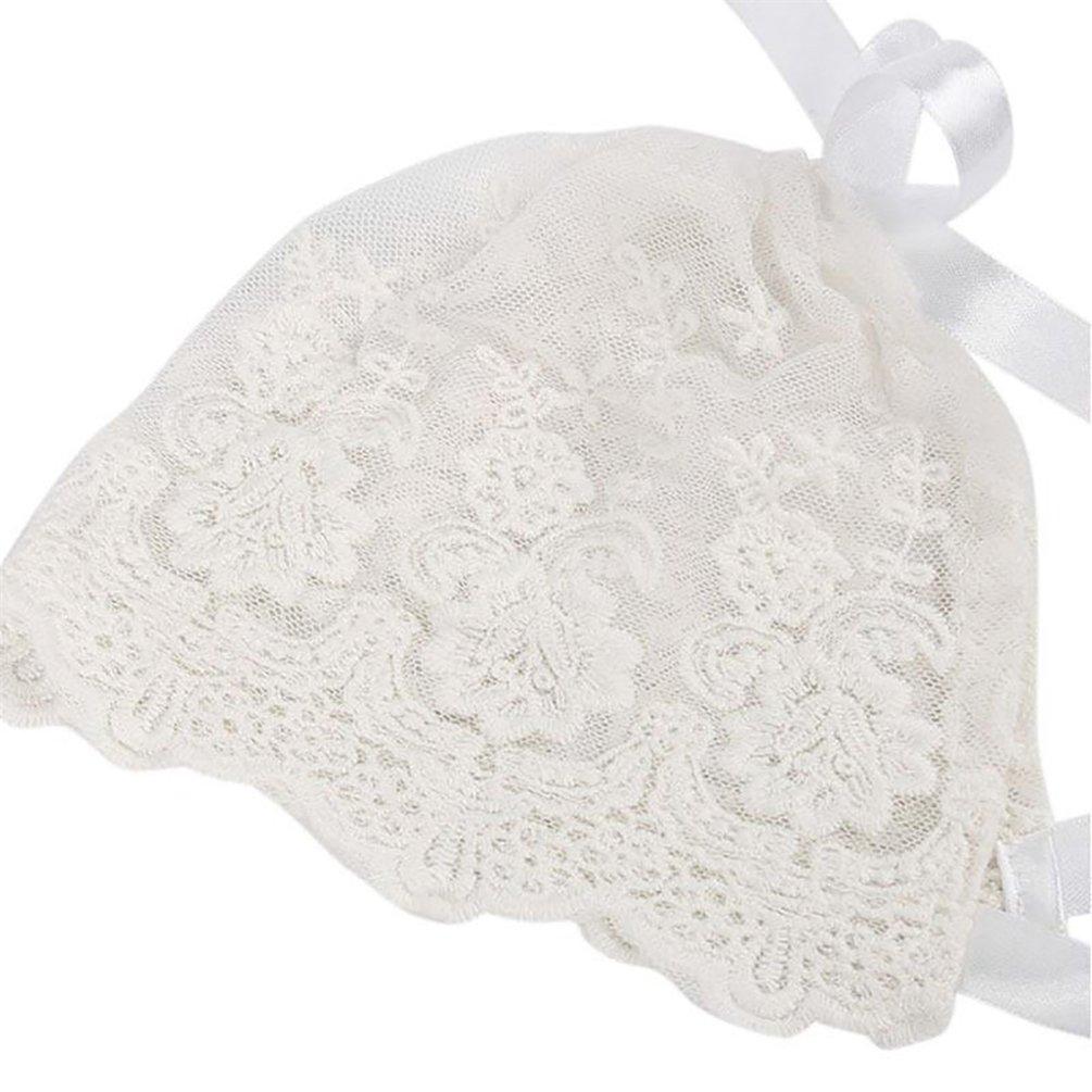 bismarckbeer Newborn Baby Lace Bonnet Cap Sun Hat Photography Props for 0-3 Months