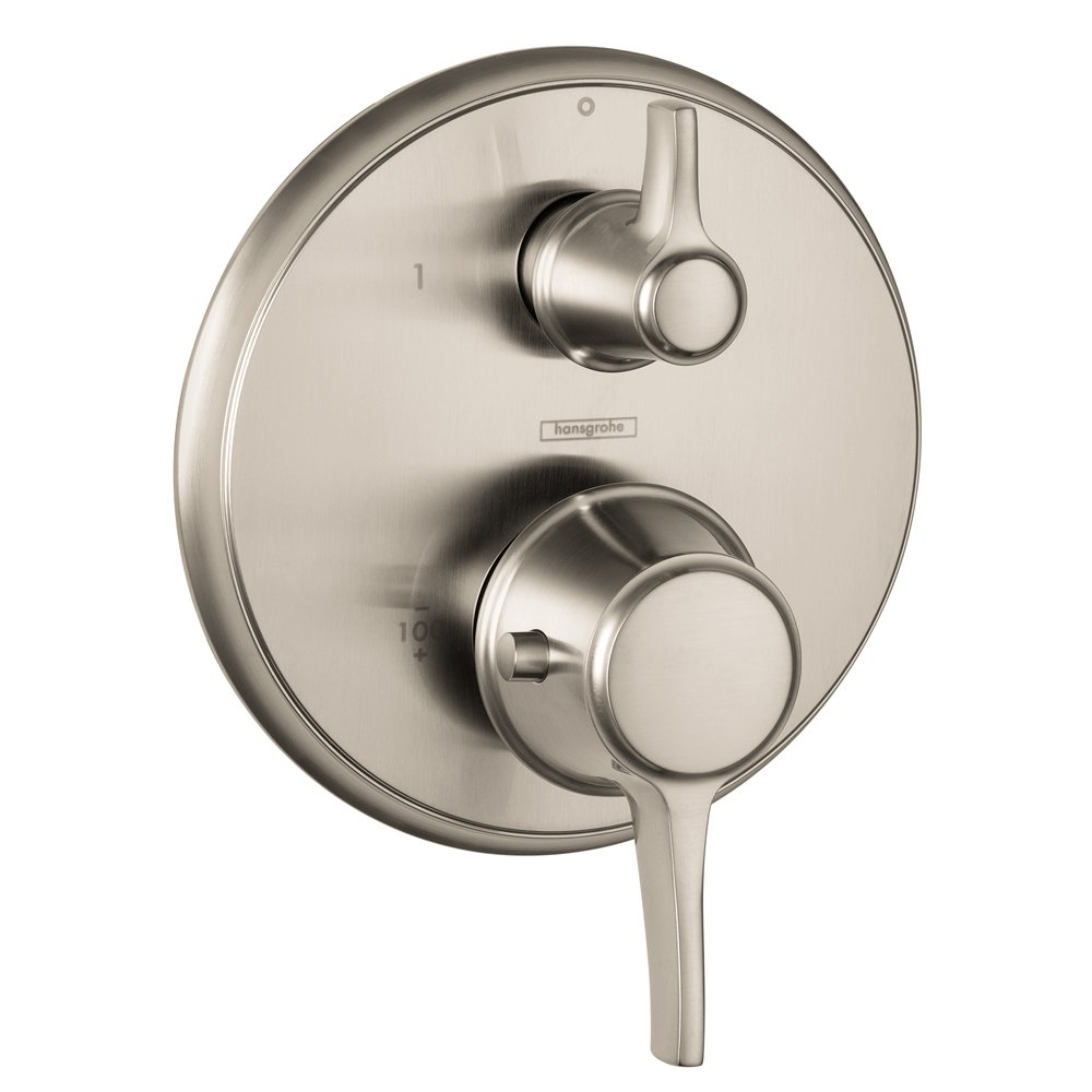 hansgrohe shower valve. Hansgrohe 15753821 Metris C Thermostatic Trim With Volume Control And Diverter, Brushed Nickel - Mounted Bathroom Shelves Amazon.com Shower Valve )