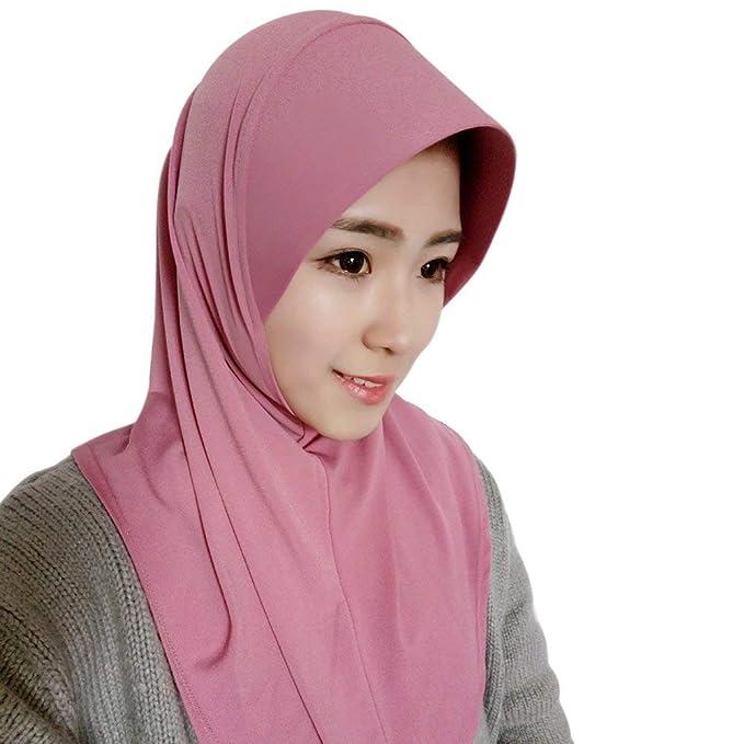 Saoye Fashion Bufanda para mujer Hijab Bufanda para mujer terminada Gorra Hijabs Fácil De Igualar de color sólido Bufandas para mujer Hijabs Turban: ...
