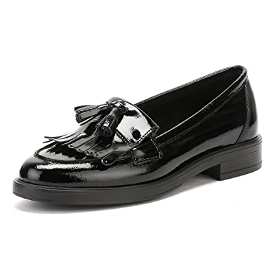 TOWER London Womens Black Naplack Leather Tassel Loafers