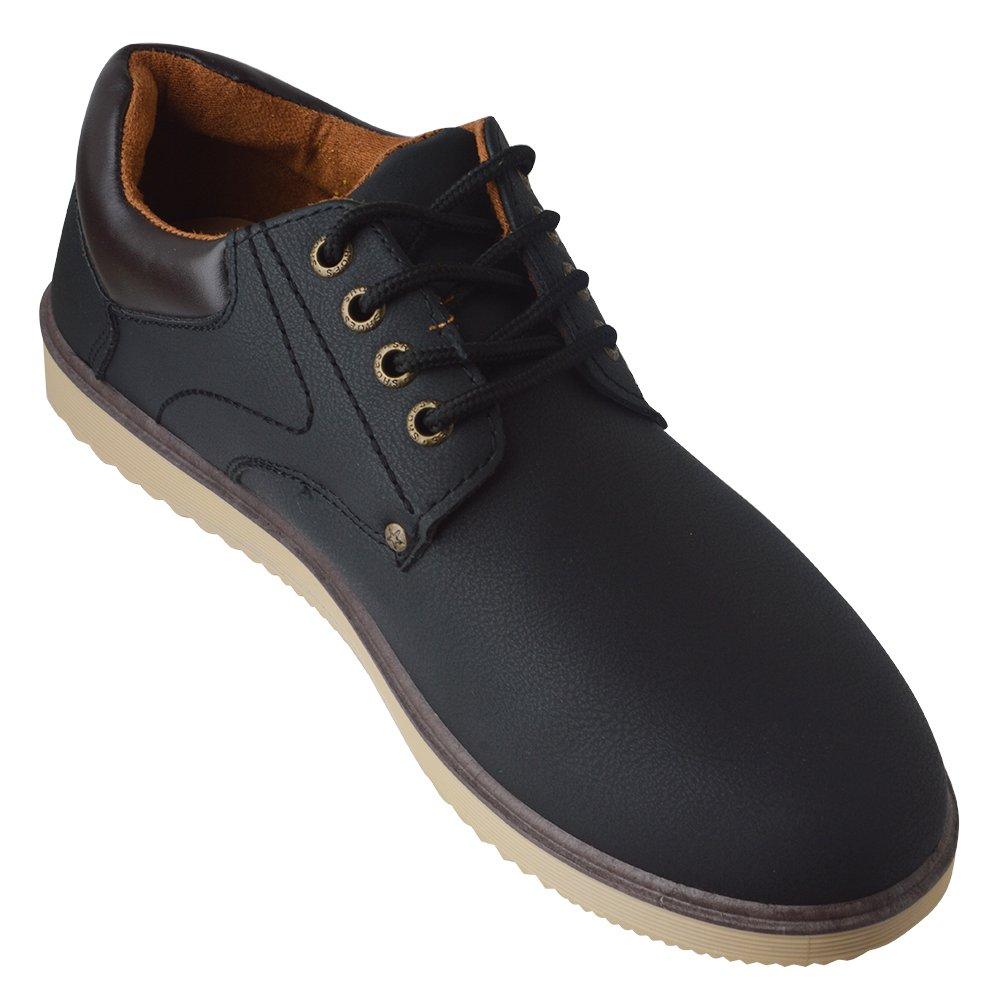 Spritech(TM) Men's Fashion British Comfort Non-slip Round Toe Work Shoe Flat Martin Boots Black