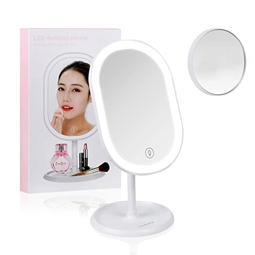 Tovendor Desktop Lighted Makeup Mirror with Detachable 10X Magnification, Portable Adjustable LED Vanity Mirror, Touch Screen Switch