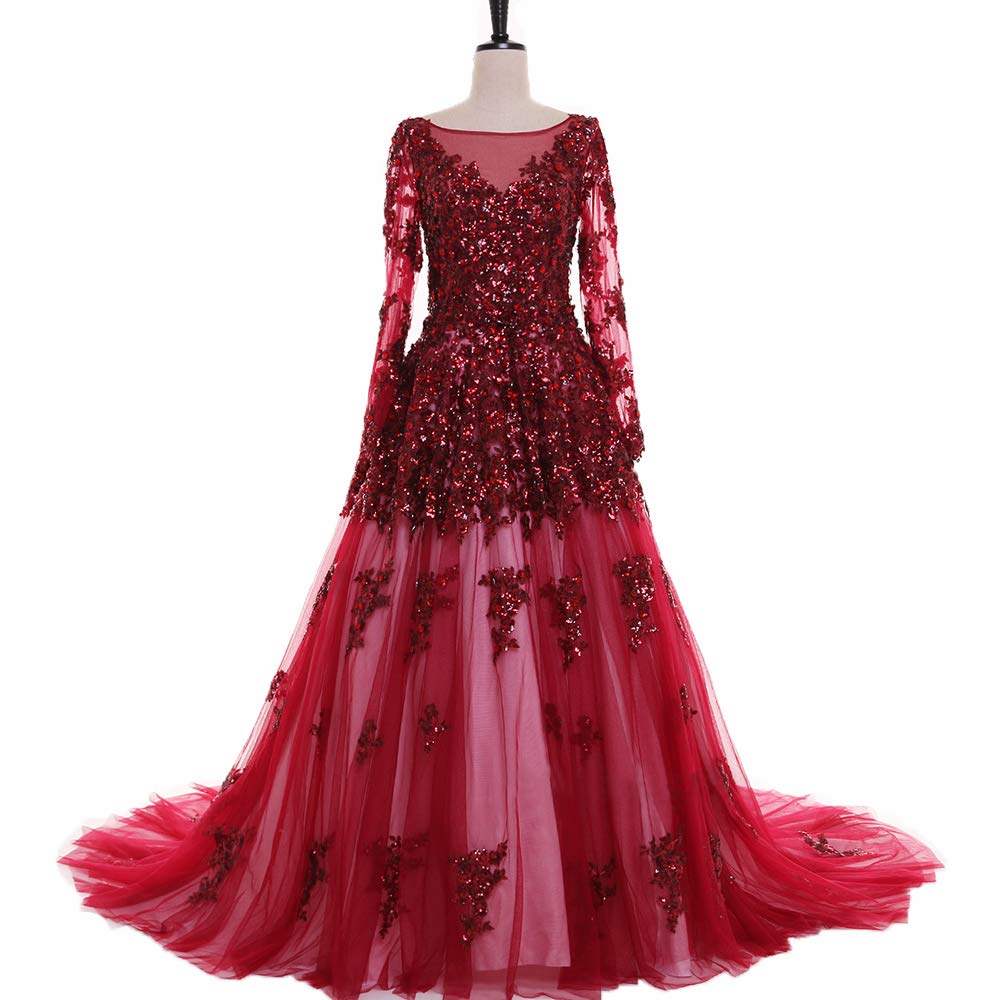 Red yuanbaokj Women's Luxury Prom Formal Evening Party Dresses Long Sleeveless Floor Length Big Train Beaded lace Appliques