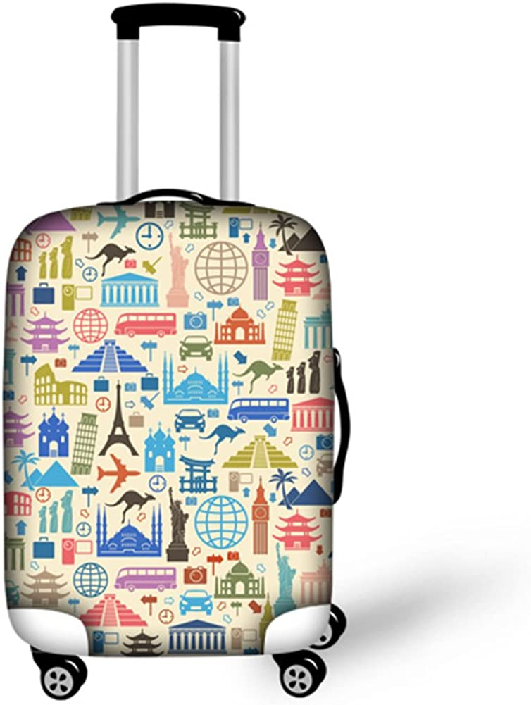 Pinbeam Luggage Cover Drawing Eiffel Tower Paris Vintage Sketch Modern Architecture Travel Suitcase Cover Protector Baggage Case Fits 22-24 inches