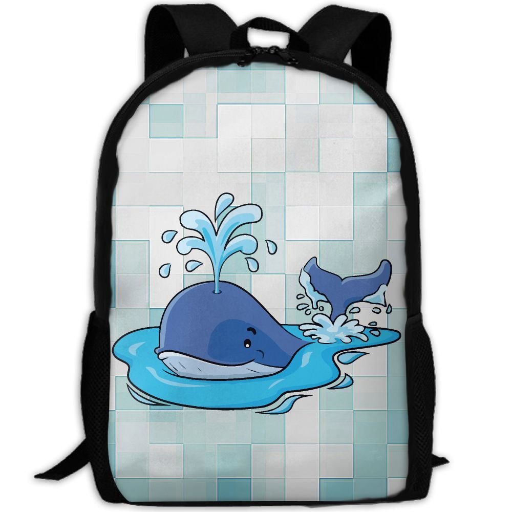 CY-STORE Cute Cartoon Breathing Whale Print Custom Casual School Bag Backpack Travel Daypack Gifts