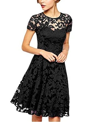 Women Fashion Round Neck Short Sleeve Pleated Floral Lace Clubwear Cocktail A Line Dress
