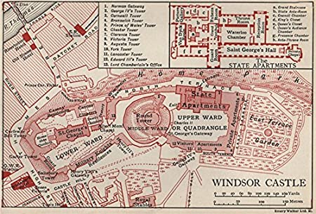 Windsor Castle Vintage Map Plan Berkshire 1939 Old Antique