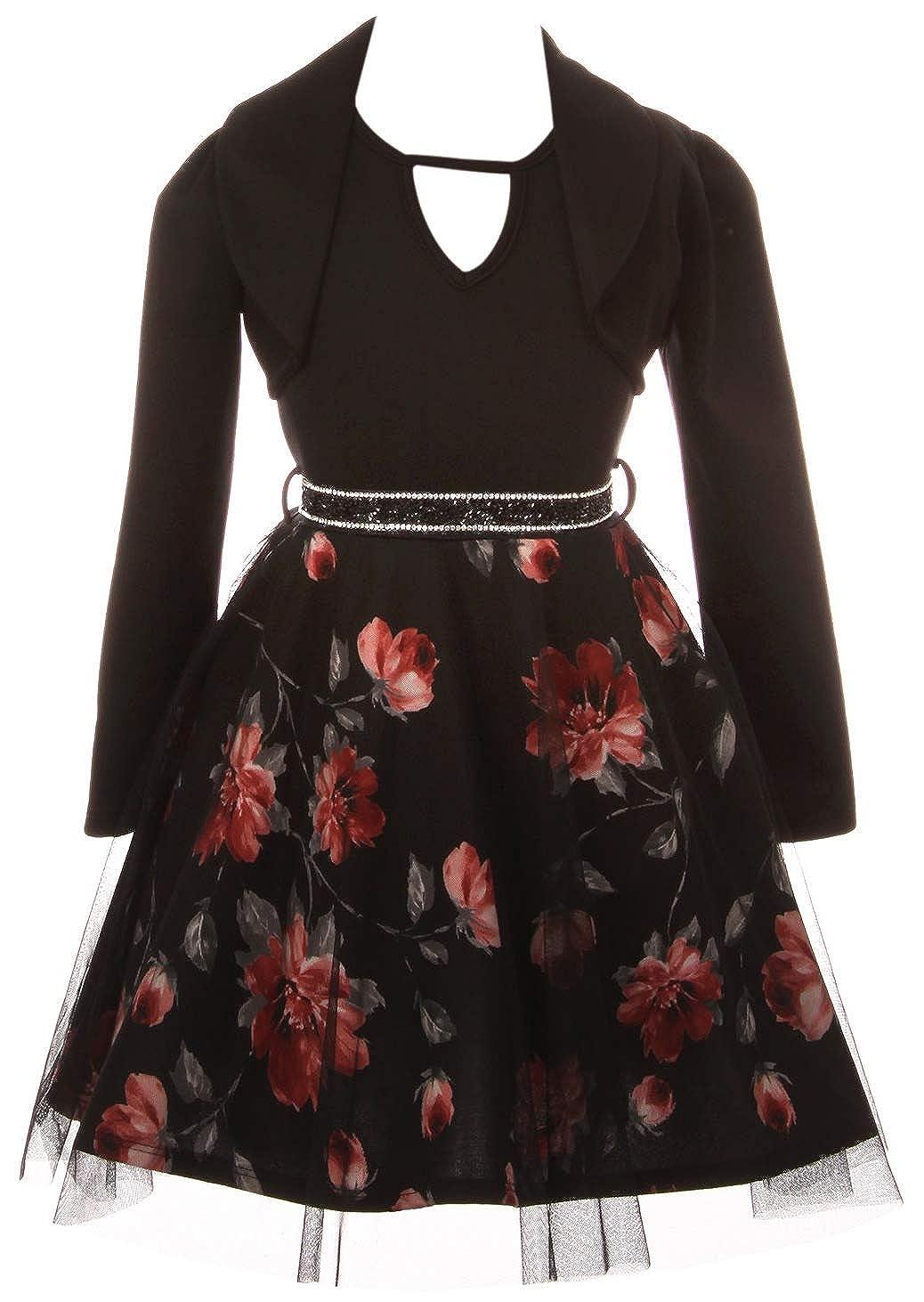 734e283298 Amazon.com: BluNight Collection Elegant Sleeveless One Piece Dress Crop  Jacket Birthday Party Flower Girl Dress: Clothing