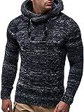 Leif Nelson LN20227 Men's Knitted Pullover,Black,US-L / EU-XL