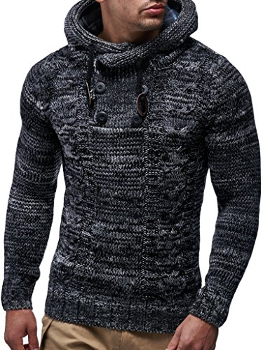 Leif Nelson LN20227 Men's Knitted Pullover,Black,US-L / EU-XL (Knitted Sweater With Hood)