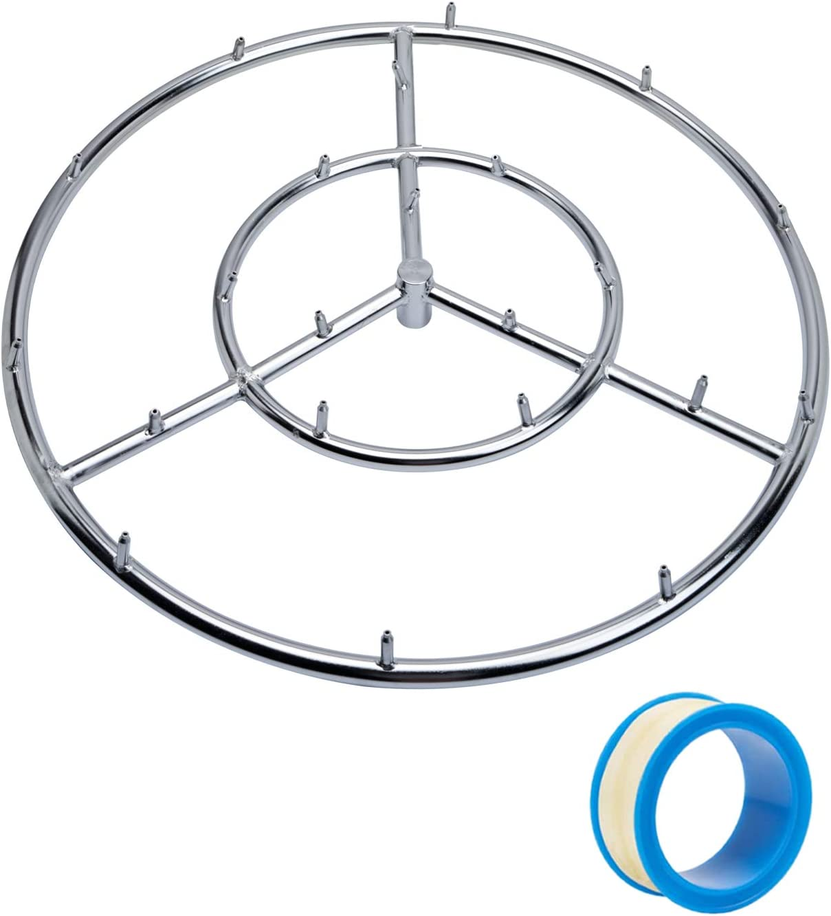 """GASPRO 24"""" Round Jet Burner Ring for Natural Gas or Propane Fire Pit, 304 Series Stainless Steel with Thread Seal Tape, High Flame"""