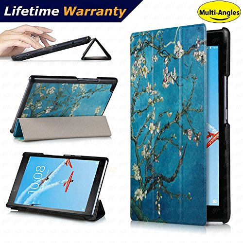 Lenovo Tab 4 8 Case(2017 Release) - DHZ Multi-Viewing Ultra Lightweight Smart Cover Slim Tri-fold Stand Folio Leather Case for Lenovo Tab4 8 inch tablet(2017 version Only),Apricot Flower