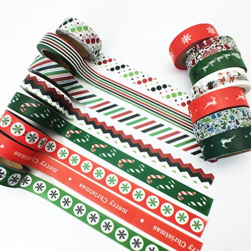 12 Rolls Christmas Thanksgiving Holiday Washi Tape Set, Snowflake Tape, DIY Scrapbooking Decorative Tape, Masking Tape, Planner Tape, Craft Gift Decoration Tape Stickers, Red Green White(Random Color)