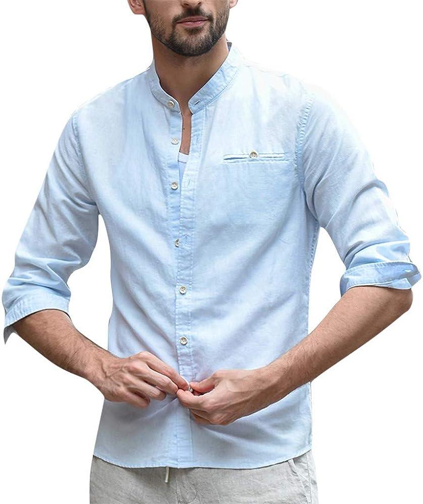 VRTUR Verano Nuevo Camisa De Hombre Guapo Blusas De AlgodóN Holgadas De Lino De AlgodóN para Hombres Botones Retro De Bolsillo De Tres Cuartos Tops, 2019 Nuevo: Amazon.es: Ropa y accesorios