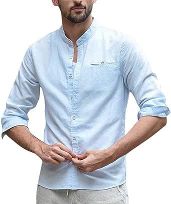 Katsaz Camisa Holgada de Lino y algodón para Hombre, con Tres ...