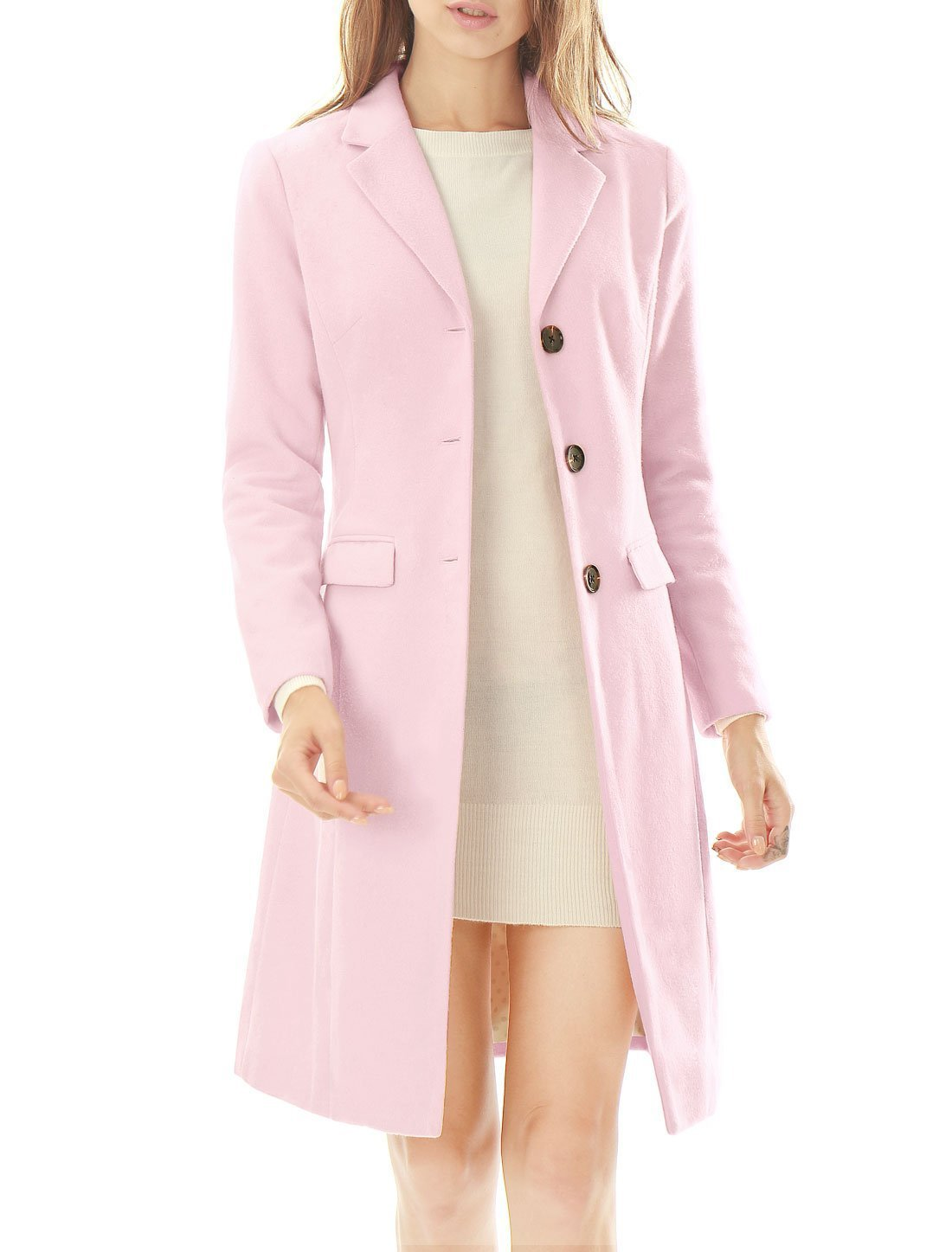 Allegra K Women's Notched Lapel Button Closure Long Coat M Light Pink