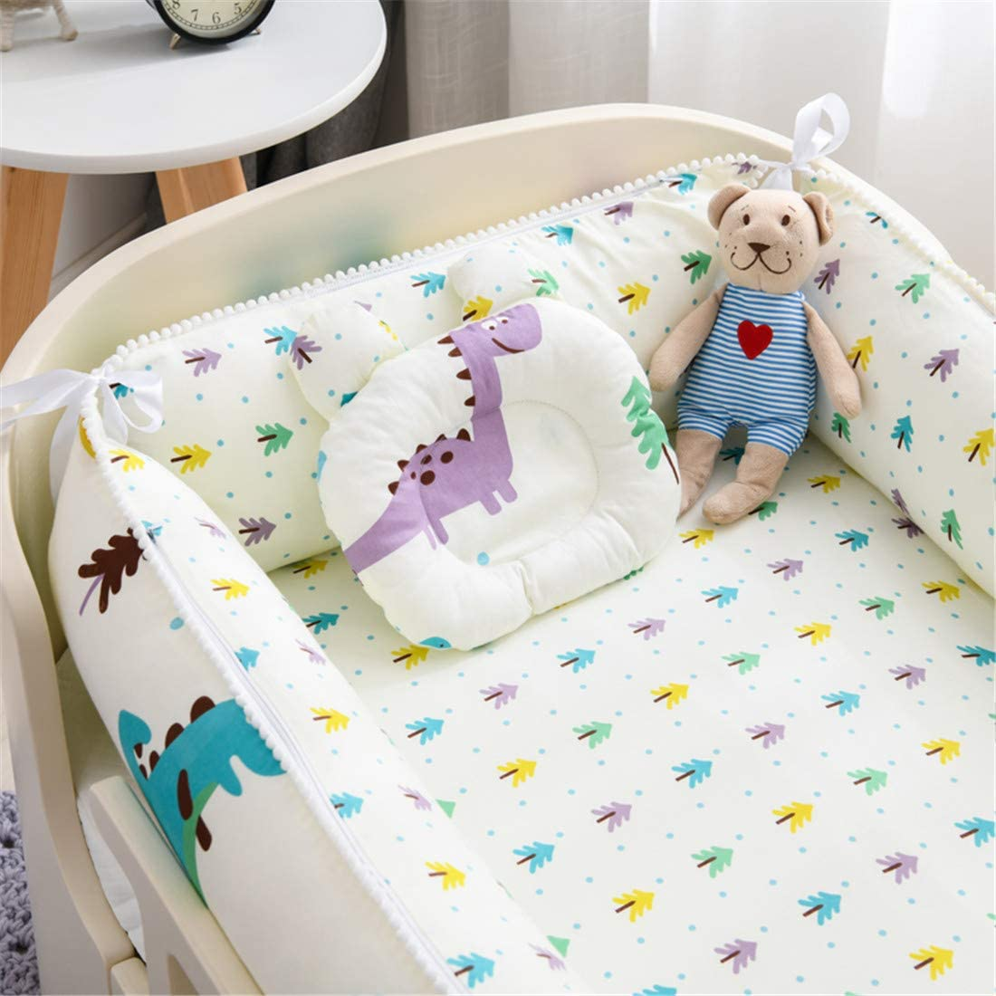 USTIDE Baby Bassinet Co-Sleeping Pink Unicorn Baby Pod Portable Hypoallergenic Baby Nest Comfortable Luxury Warm Cradle Baby Nest with Pillow Quilt 3 Pieces