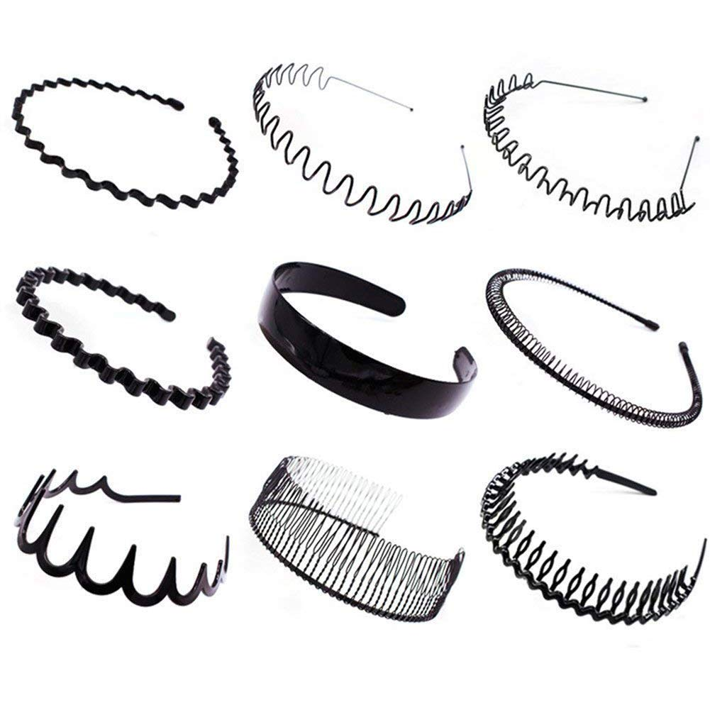 9 Pcs Simple Toothed Slip Hairpin Hoop Washing Clip Headband Hairpin Tide Jewelry for Women Girl Lady(Black) mxdmai