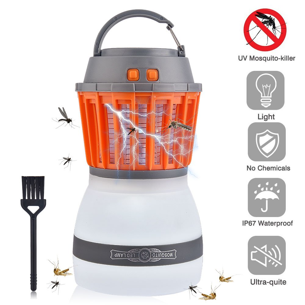 Hisome Bug Zapper, Outdoor Electronic Mosquito Repellent Insect Killer Lamp Portable 2 In 1 Night LED Lamp Rechargeable Zapper Mosquito Waterproof for Camping (2018 Upgraded Version)