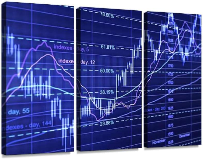 Financial Diagrams Print On Canvas Wall Artwork Modern Photography Home Decor Unique Pattern Stretched and Framed 3 Piece